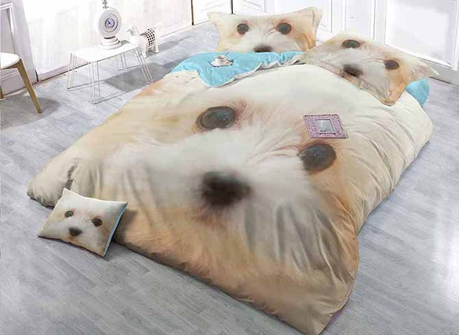 Docile Cute Dog Digital Printing Satin Drill 4-Piece Duvet Cover Sets