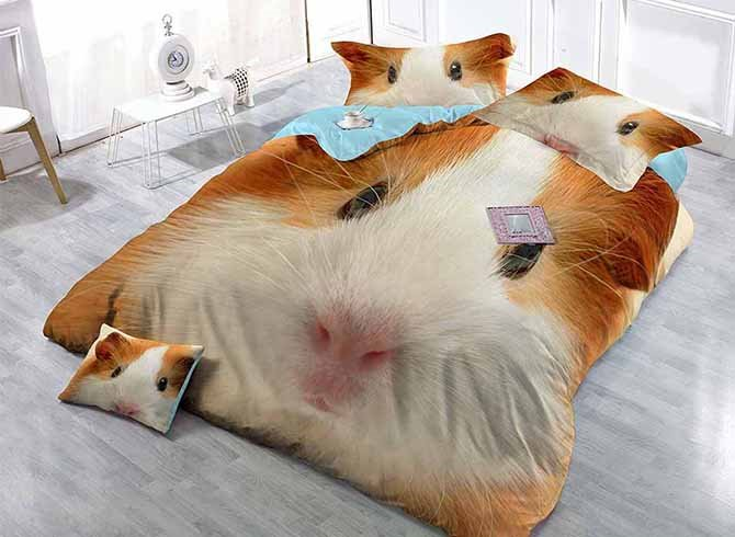 Cute 3D Hamster Digital Printing Satin Drill 4-Piece Duvet Cover Sets