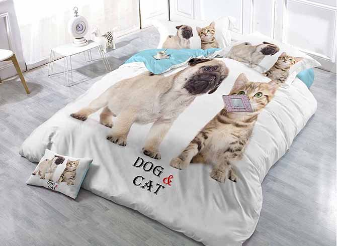 Lovely Cat and Dog Print White Satin Drill 4-Piece Duvet Cover Sets