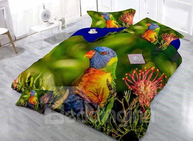 Colorful Parrot Print Satin Drill 4-Piece Duvet Cover Sets