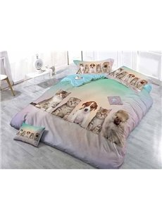 Couchant Cats and Dogs Print Satin Drill 4-Piece Duvet Cover Sets