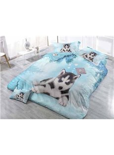 Lovely Husky Print Satin Drill Blue 4-Piece Duvet Cover Sets