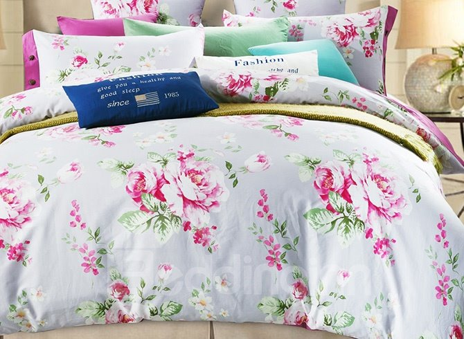 100% Cotton Pretty Pink Peonies Print 4-Piece Duvet Cover Sets
