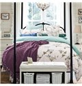 Pastoral Flowering Branch Print Cotton 4-Piece Duvet Cover Sets