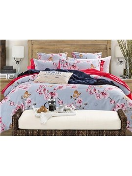 Beautiful Butterfly Orchid Print Cotton Blue 4-Piece Duvet Cover Sets