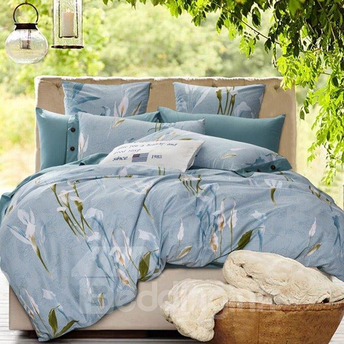 Graceful Calla Lily Print Cotton Blue 4-Piece Duvet Cover Sets