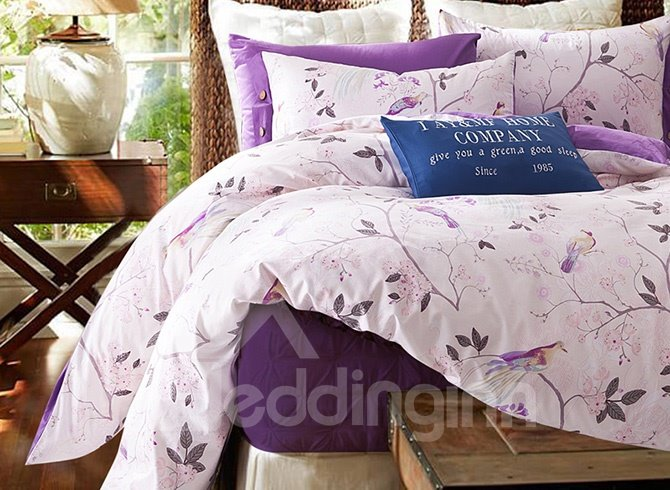 Light Purple Leaves and Branch Print Cotton 4-Piece Bedding Sets/Duvet Cover