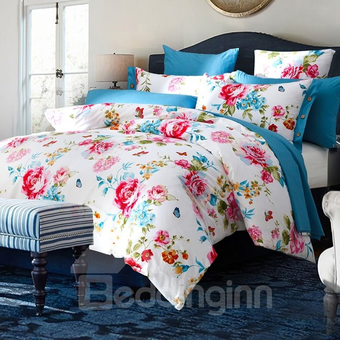 Red Peonies Print Cotton White 4-Piece Duvet Cover Sets