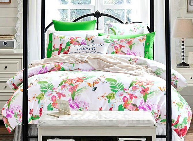 Pastoral Flowers and Leaves Print Cotton 4-Piece Duvet Cover Sets