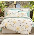 Yellow and Purple Floral Printing Cotton 4-Piece Duvet Cover Sets