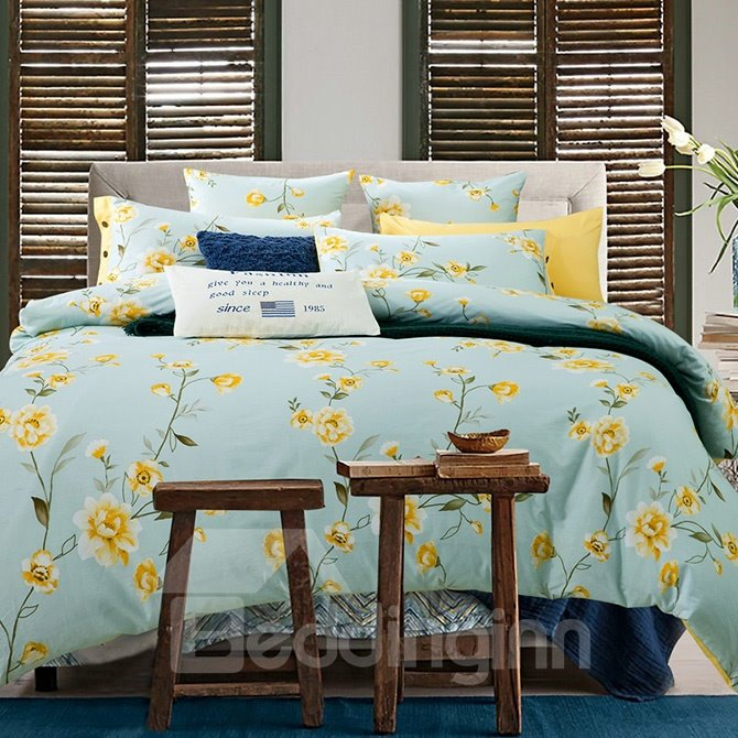Refreshing Pastoral Yellow Flowers Print Cotton 4-Piece Duvet Cover Sets