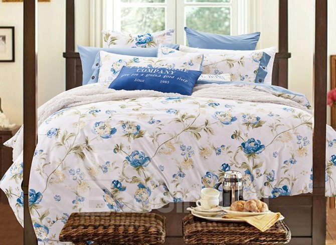 Elegant Blue Flowers Print 100% Cotton 4-Piece Duvet Cover Sets