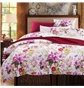 Pretty Rosy Flowers and Butterflies Print 4-Piece Cotton Bedding Sets/Duvet Cover