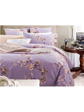 Graceful Pastoral Floral Style Purple 4-Piece Cotton Duvet Cover Sets
