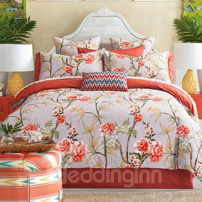 Bright Pastoral Style Orange Flowers Printing 4-Piece Cotton Bedding Sets/Duvet Cover
