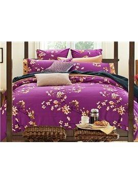American Pastoral Style Floral Print Purple 4-Piece Duvet Cover Sets