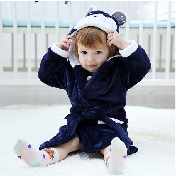 Super Lovely Warm Flannel Bear Shape Hooded Kids Robe