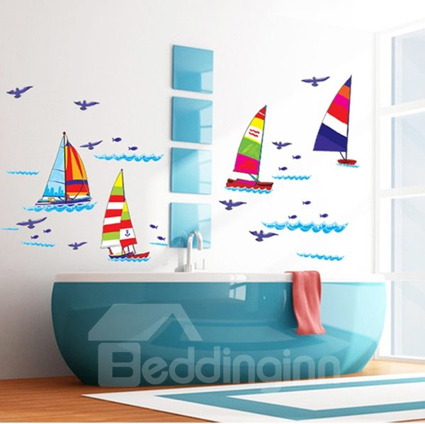 Cartoon Sailing Boats Bathroom Kidsroom Removable Wall Sticker