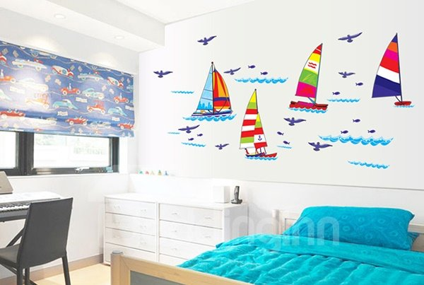 Cartoon Sailing Boats Bathroom Kidsroom Removable Wall Sticker