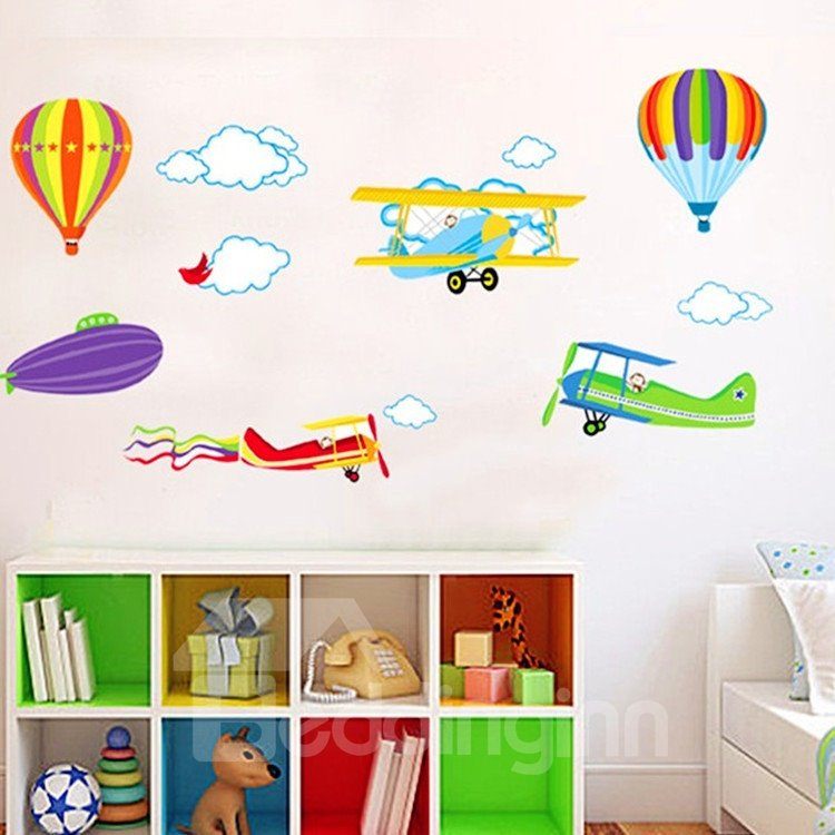 Colorful Hot Air Ballons and Planes Kidsroom Removable Wall Sticker
