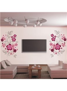 Stunning Red Flowers TV Wall Removable Wall Sticker