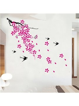 Wonderful Red Flowers and Swallows Removable Wall Sticker