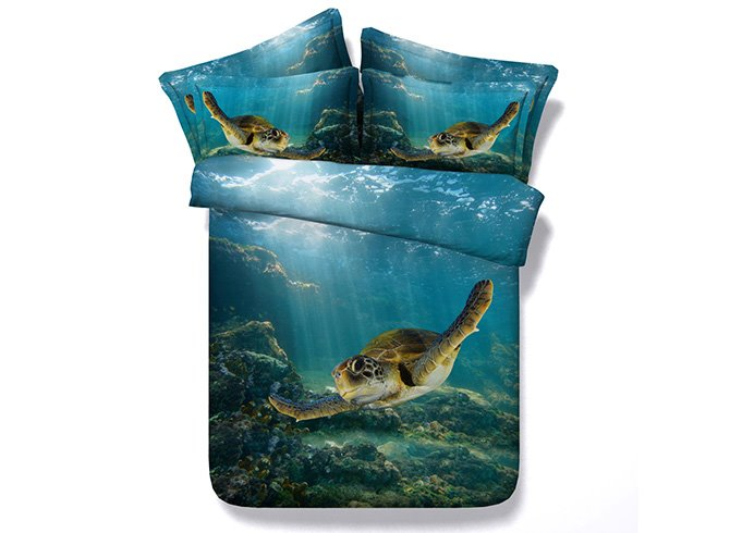 3d Swimming Turtle Blue Ocean Printed 5 Piece Comforter Sets Pic