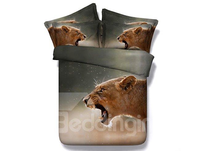 Roaring Brown Lion Printed Cotton 4-Piece 3D Bedding Sets/Duvet Covers