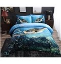 3D Swimming Turtle Blue Ocean Printed 4-Piece Bedding Sets/Duvet Covers