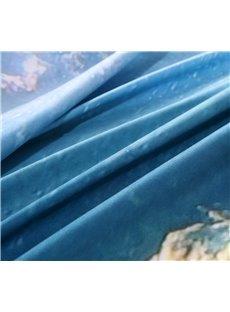 Swimming Turtle Blue Ocean Print 4-Piece Duvet Cover Sets