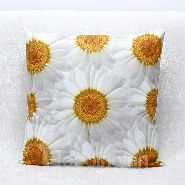 3D White Daisy Print Plush Throw Pillow
