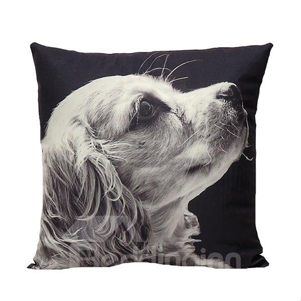 Cute White Puppy Print Plush Throw Pillow