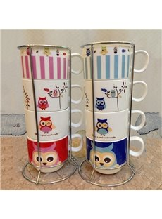Cartoon Owl Pattern 4-Piece Ceramic Coffee Mug Sets
