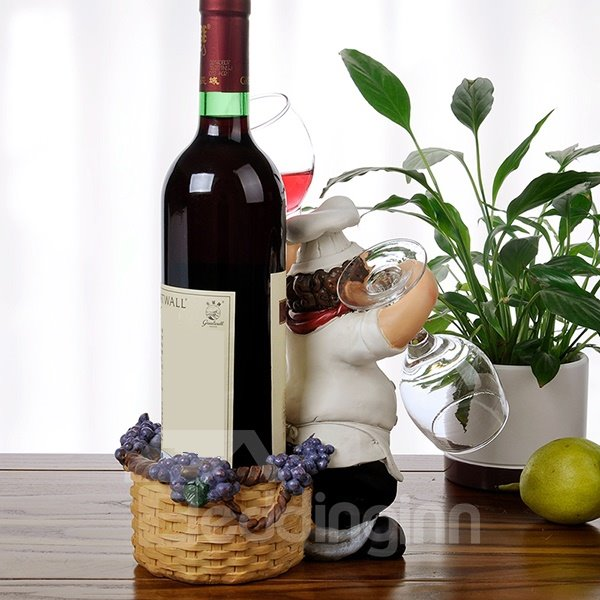 Wonderful Resin Chef Design Wine Stand & Glass Holders