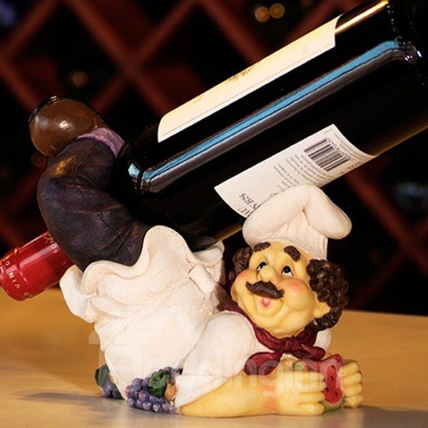 Creative Chef Lying on His Stomach Resin Wine Holder