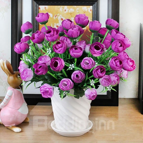 Stunning 6-Branch Flowers with Ceramic Vase Artificial Flower Sets