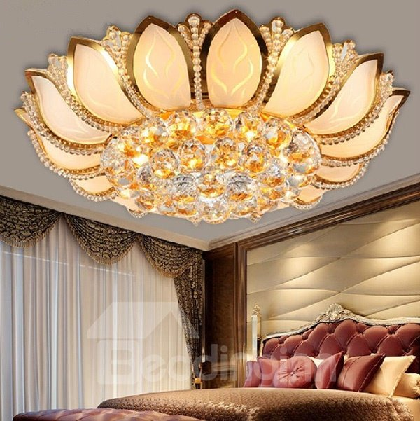 Stunning Golden Lotus Design Crystal Flush Mount ... & Stunning Golden Lotus Design Crystal Flush Mount - beddinginn.com