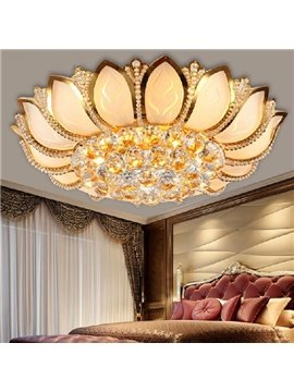 Stunning Golden Lotus Design Crystal Flush Mount