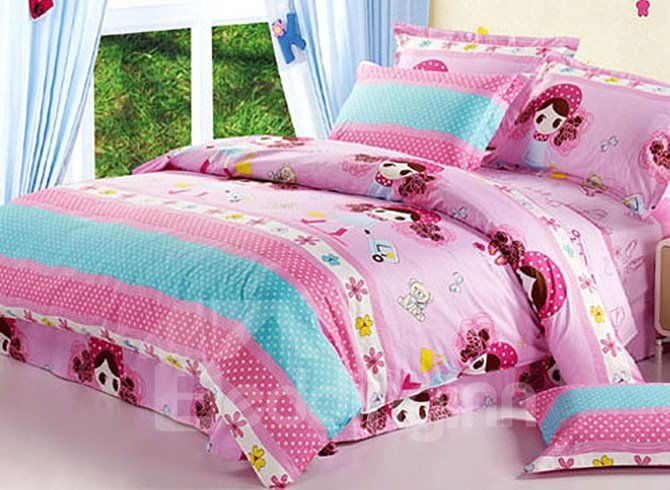 Sweet Girls and Polka Dot Pattern Kids Cotton Duvet Cover Sets