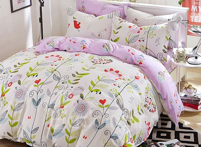 Graceful Flowers and Vines Pattern Kids Cotton Duvet Cover Sets