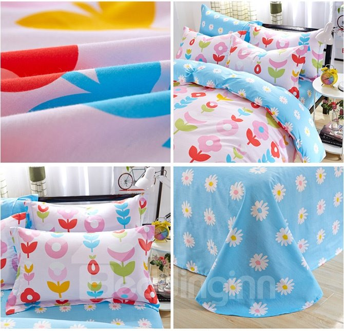Fresh Pink Flowers Pattern Kids Cotton Duvet Cover Sets