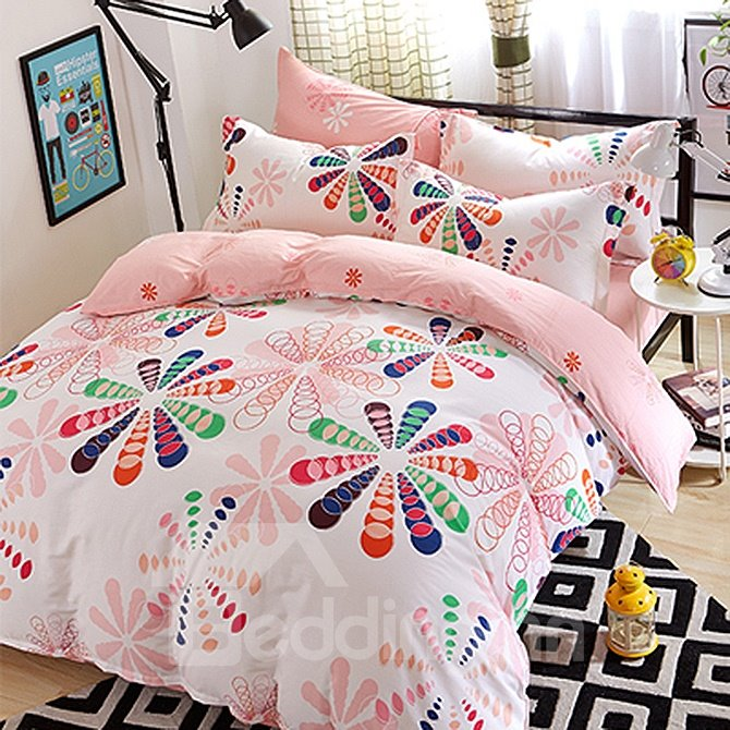 Creative Big Flowers Pattern Kids Cotton Duvet Cover Sets