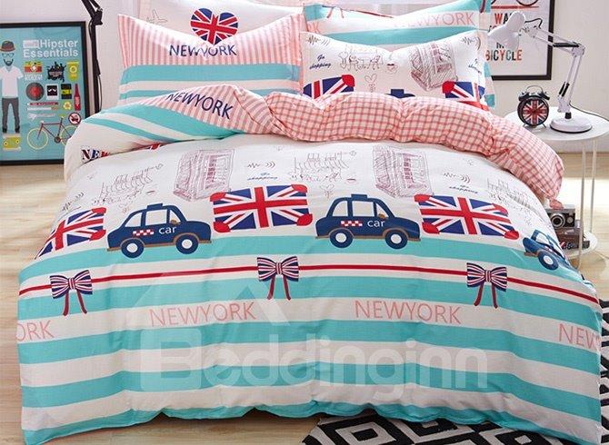 British Town Stripes Pattern Kids 100% Cotton Duvet Cover Set