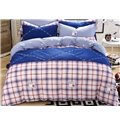 City Rhythm Plaid Pattern Kids 100% Cotton Duvet Cover Set