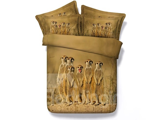 Adorable Standing Animals Print Brown 5-Piece Comforter Sets