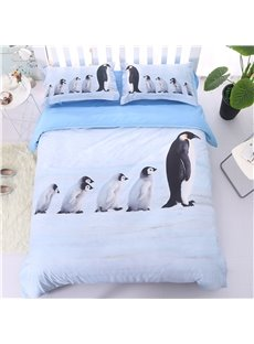 A Group of Cute Penguins Print Light Blue 5-Piece Comforter Sets