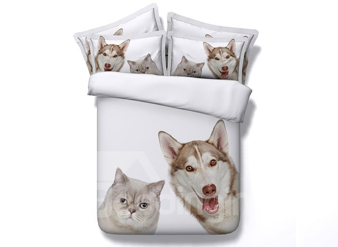 Adorable Cat and Dog Print White 5-Piece Comforter Sets