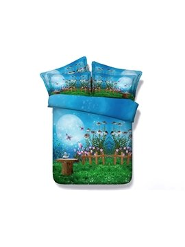 Dreamy Fairyland Print Blue 5-Piece Comforter Sets