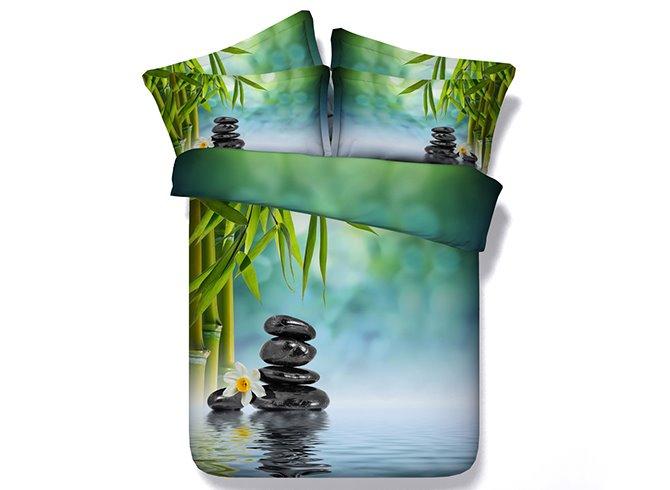 Fresh Bamboo and Cobblestone Print 5-Piece Green Comforter Sets