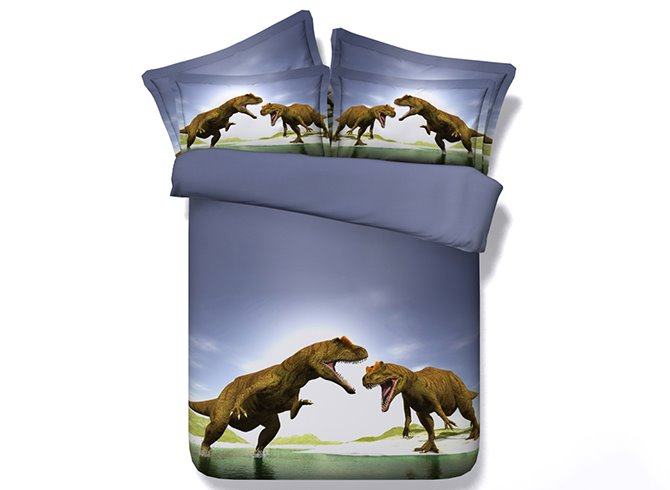 Powerful Dinosaur Battle Blue 5-Piece Comforter Sets